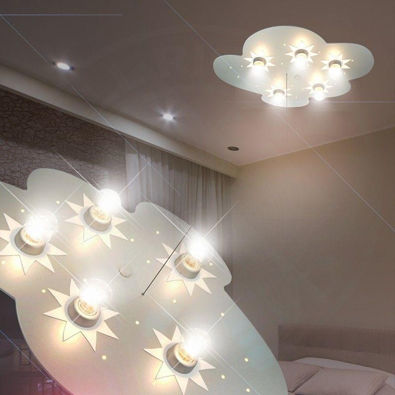 Moln Tak lampa LED/ Barn/ Silver/ Lampa Stjärnor himmel Barnlampa ...