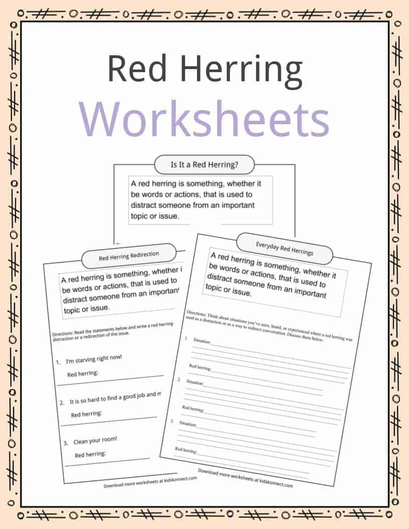 Red Herring Definition Worksheets Math Fact Worksheets Red Herring Math Facts