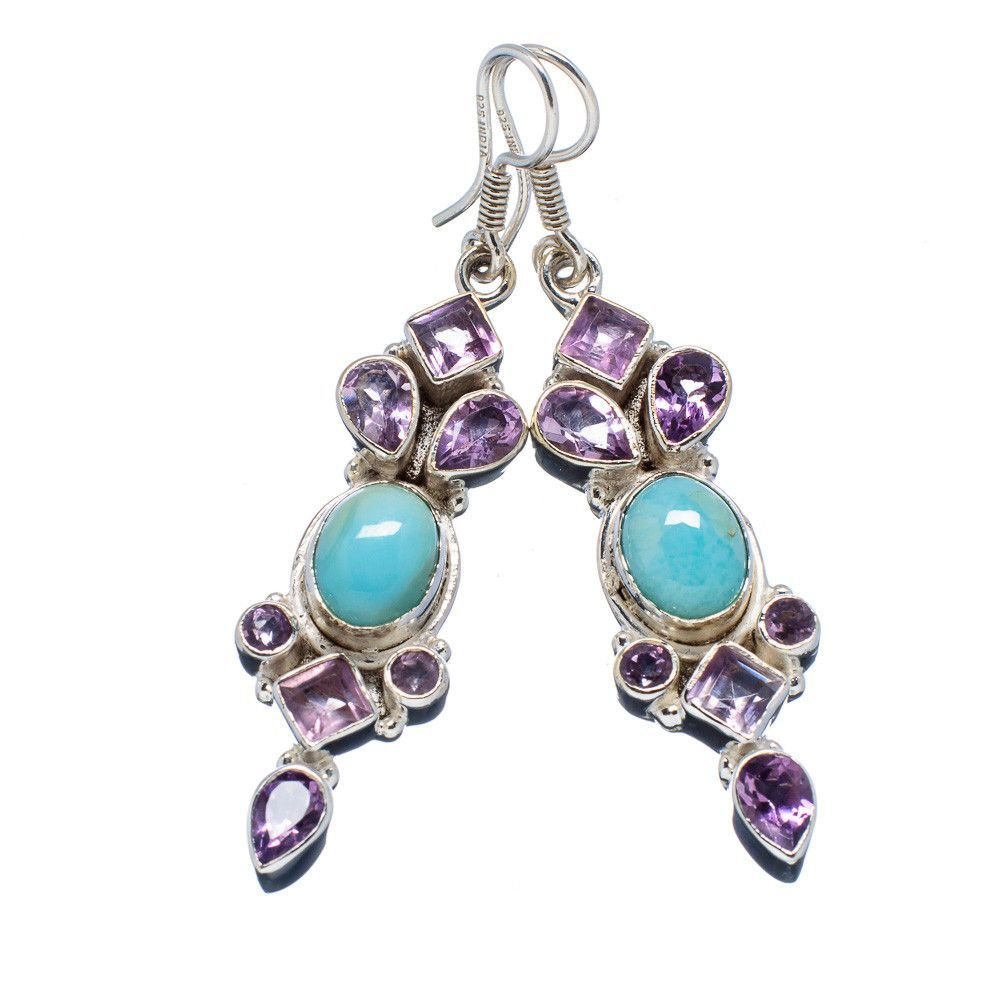 "Rare Larimar, Amethyst 925 Sterling Silver Earrings 2 1/4"" EARR304253"