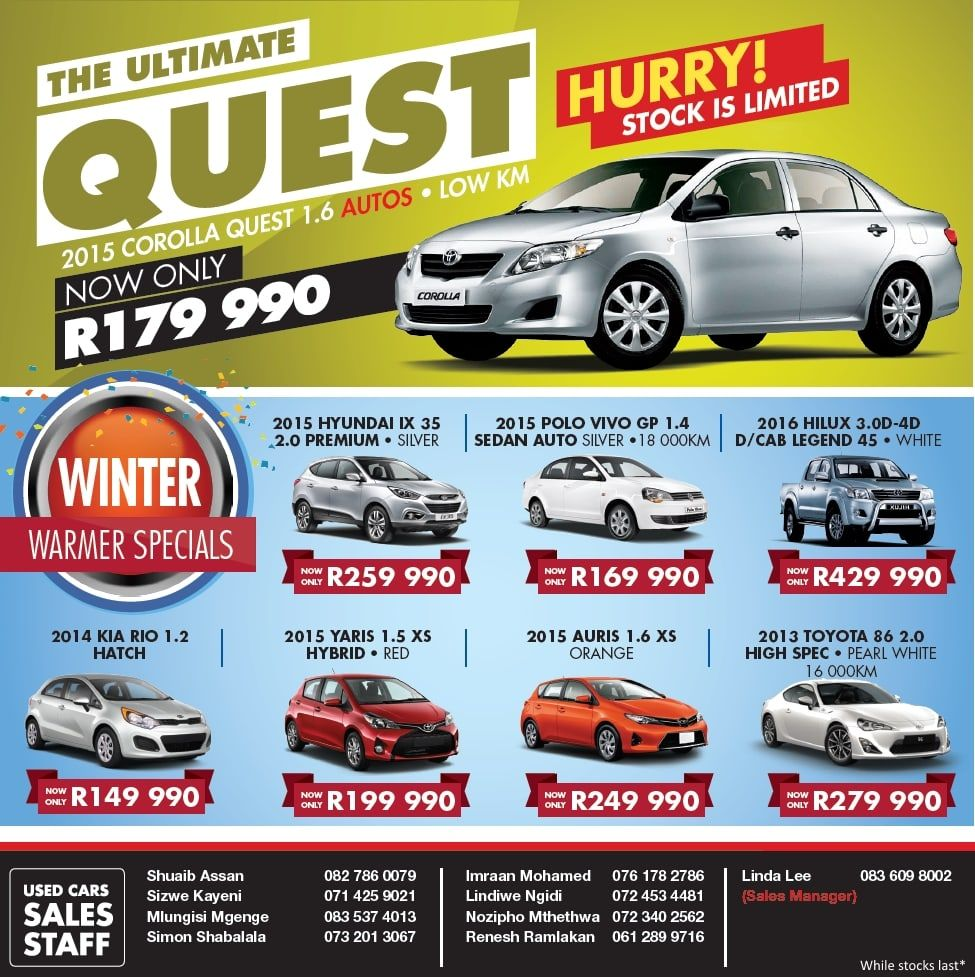Durban South Toyota Specials & Deals. Specials on Hilux