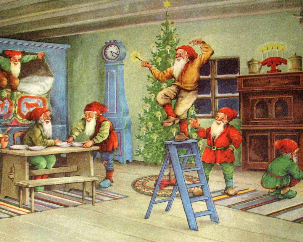 1940's Original Vintage Erik Forsman Christmas Elves Swedish ...