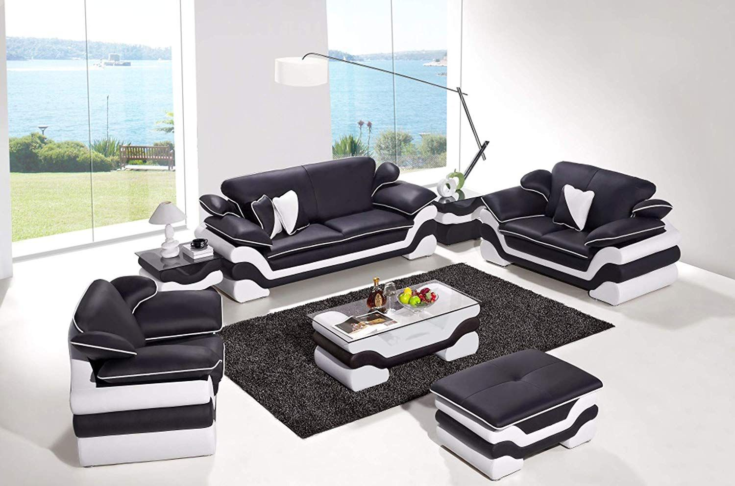 Oakland living black white contemporary real leather configurable furniture ottoman coffee table modern modular living room