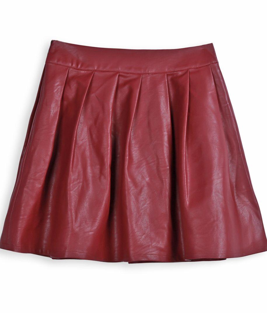 66ac3b209 Wine Red PU Leather Pleated Mini Skirt US$26.48 | F△SH☯N ❣ | Mini ...