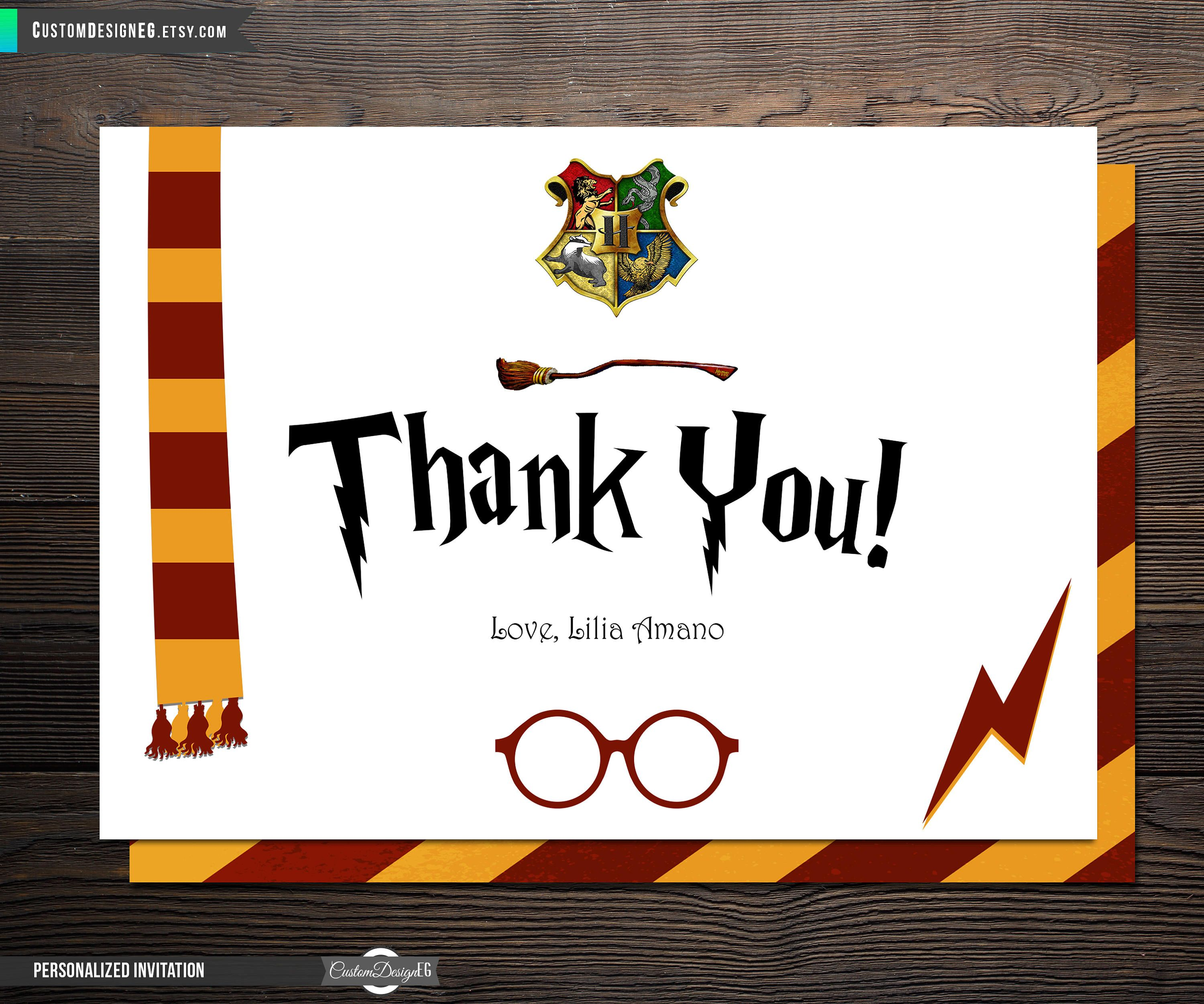 Harry Potter Thank You Card Birthday Party Invitations