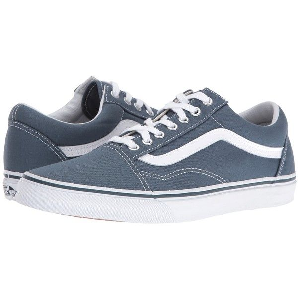 9be68b6601 Vans Old Skool ((Canvas) Dark Slate True White) Skate Shoes (425 HKD) ❤  liked on Polyvore featuring shoes