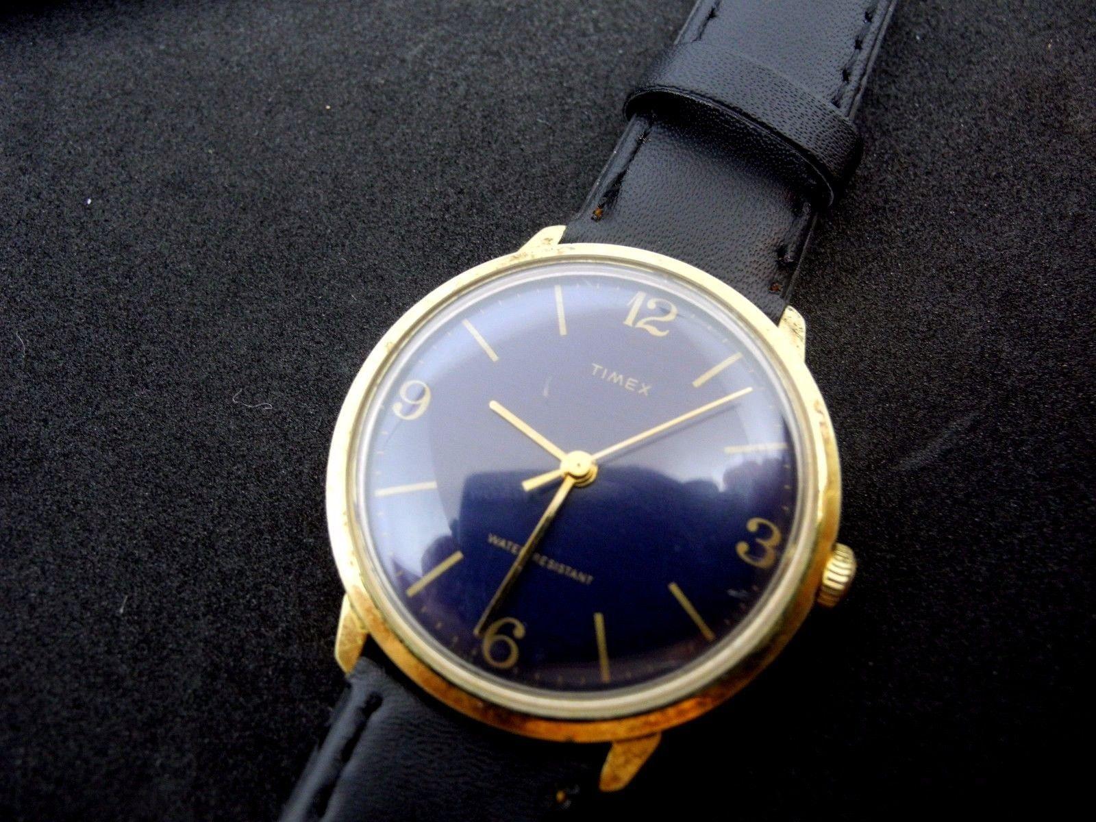 Wind Mens Timex Hand 1979 Dark Marlin Watch Blue Dress Dial Vintage CQBrdeWoEx