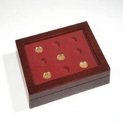Münzkassette VOLTERRA DUO, für 9 100-Euro-Goldmünzen inkl. 2. Einlagen und Glasdeckel.