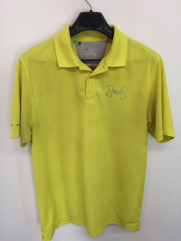 fdcc19fc MENS LARGE UNDER ARMOUR COLDBLACK LOOSE HEATGEAR POLO SHIRT GOLF NEON YELLOW  #UnderArmour #PoloRugby