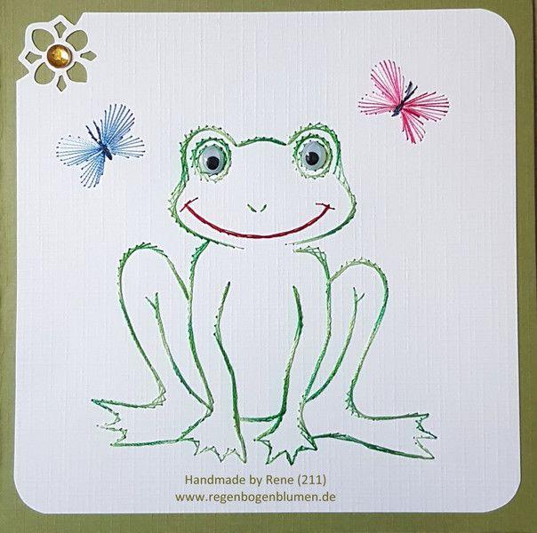 Geburtstag - Fadengrafik Grußkarten Set 211 Frosch - ein Designerstück von Bastelfan1809 bei DaWanda