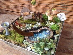 Mini Garden With A Mini Pool Maura Miniature Garden Miniature Fairy Gardens My Fairy Garden