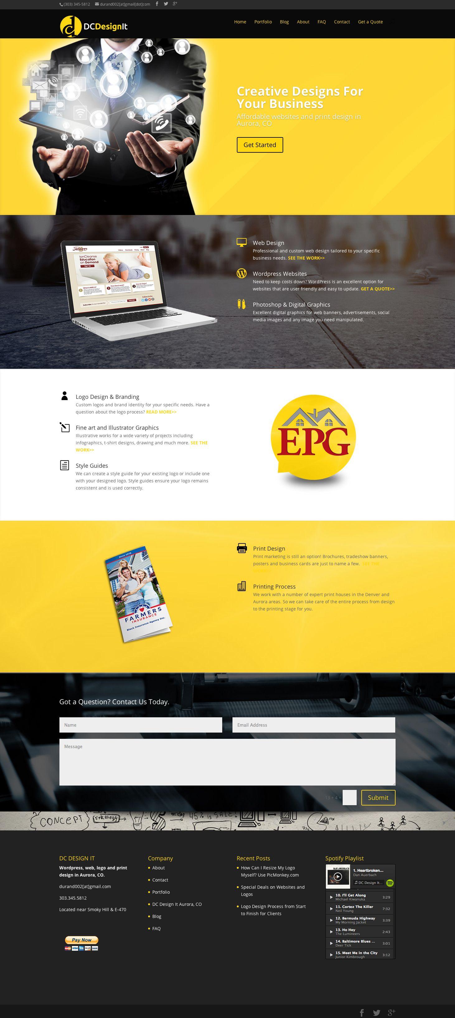 Dc Design It Website Web And Print Design Aurora Graphic Design Black Yellow Website Dcdesignit Com Website Design Web Design Design
