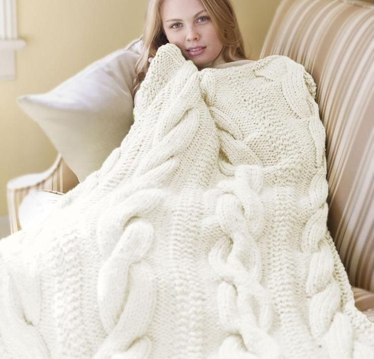Cable Comfort Throw Blanket Knitting Kit   Lion brand wool ...
