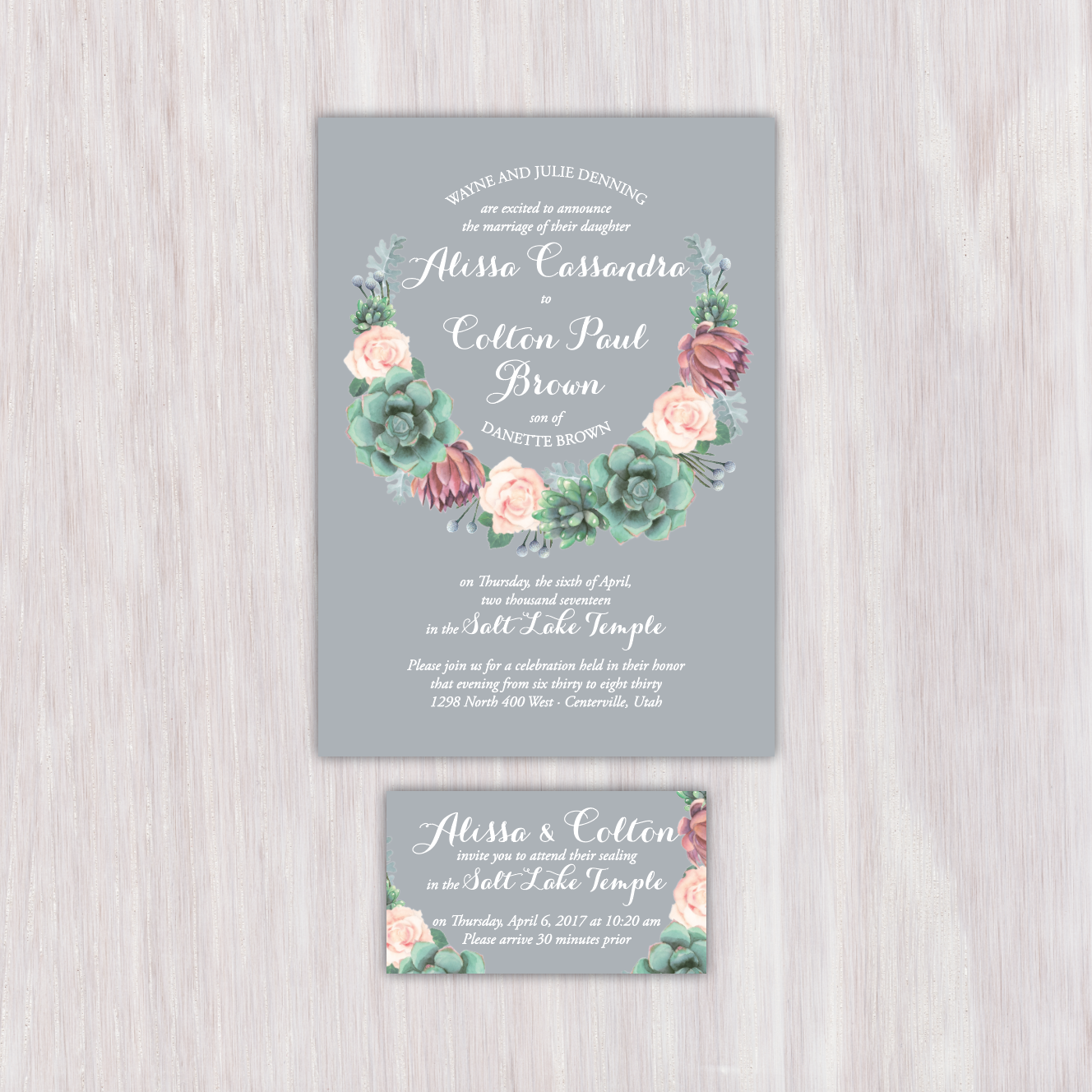 Succulent And Blush Rose Floral Gray Background Single Sided