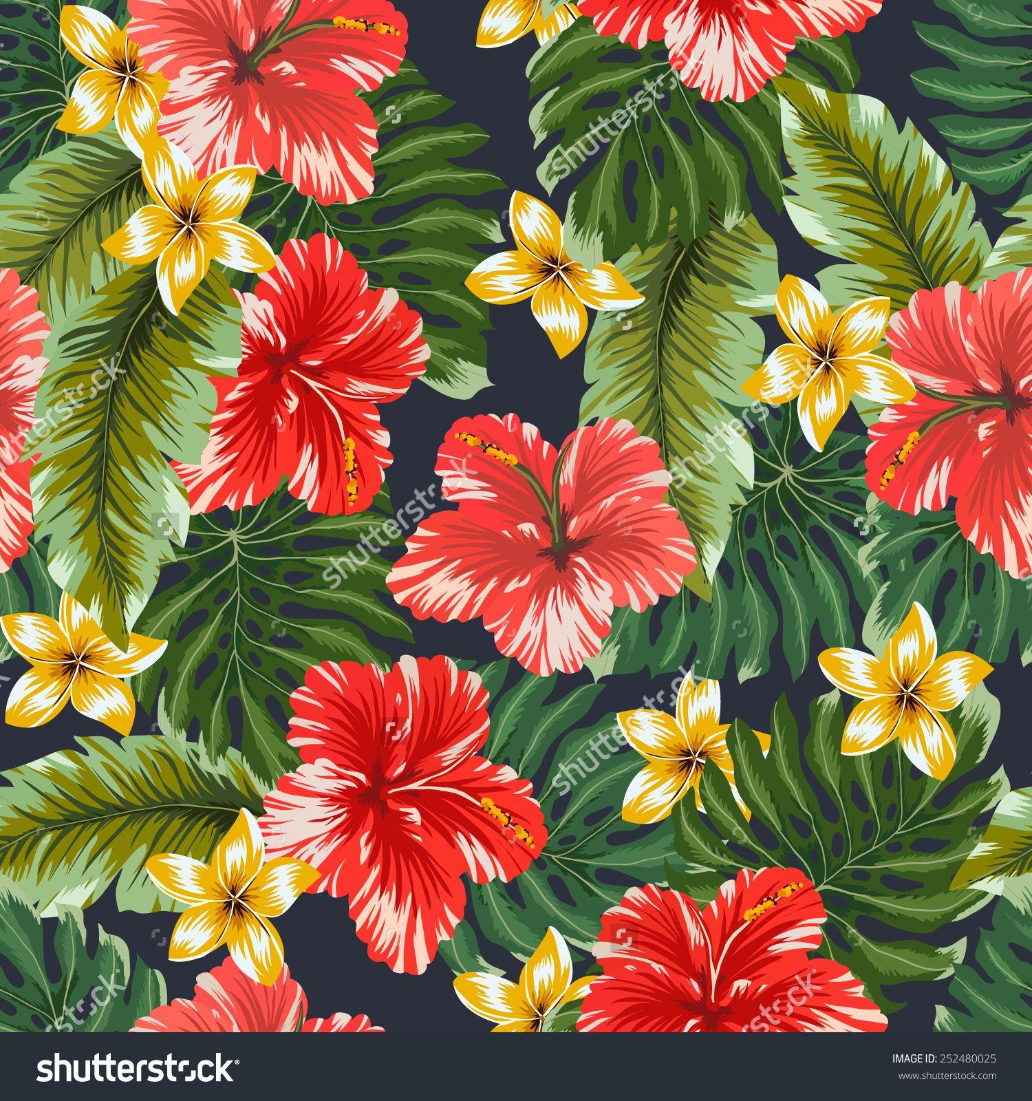 Seamless Pattern Colorful Hawaiian Flowers On Dark Background