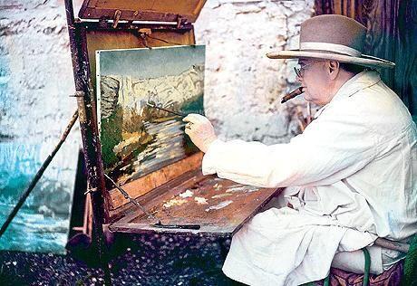 Winston Churchill Paint And Smoke His Cigar Churchill Paintings Winston Churchill Winston Churchill Photos
