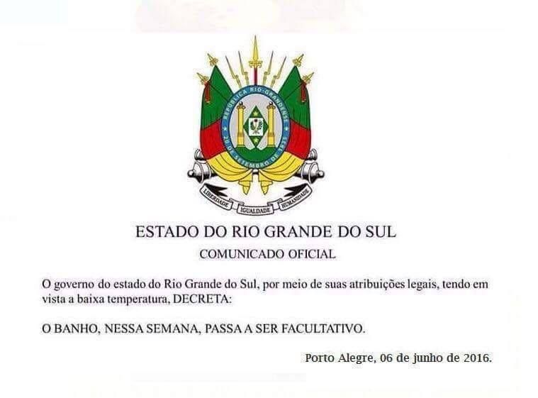 Diário de um Gaúcho Grosso: COMUNICADO OFICIAL SOBRE O INVERNO 2016