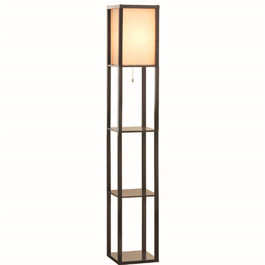 Allen Roth 62 In Brown Casual Transitional Standard Shelf Indoor Floor Lamp With Fabric Shade Brown Floor Lamps Indoor Floor Lamps Floor Lamp