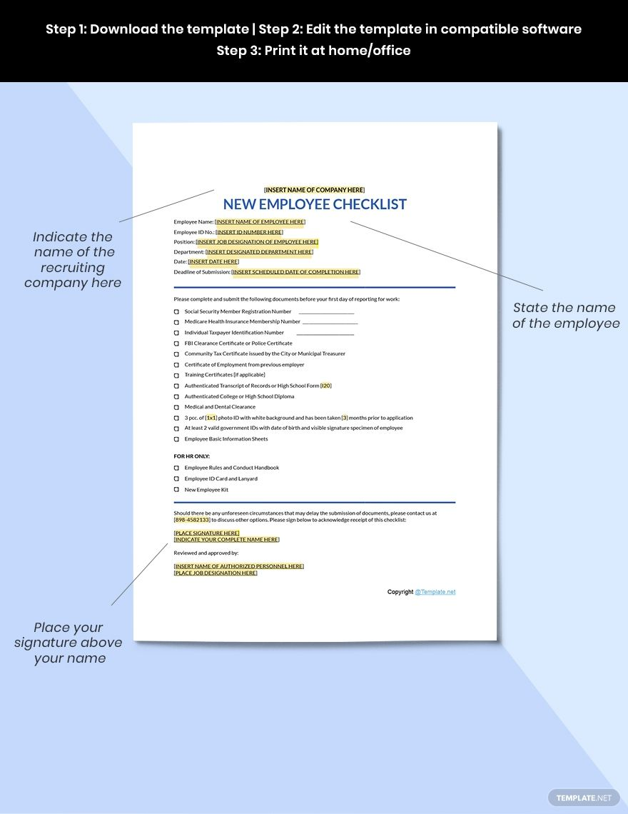 Simple New Employee Checklist Template Free Pdf Google Docs Word Apple Pages Template Net Checklist Template Freewriting New Employee
