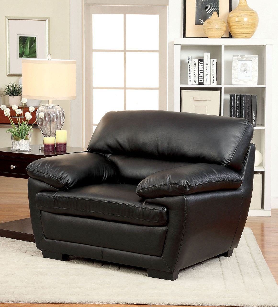CHAIR CM6172BK-CH MULLINS COLLECTIONPlush padded leatherette cushions with a touch of modern crafted style.  Sale for $277