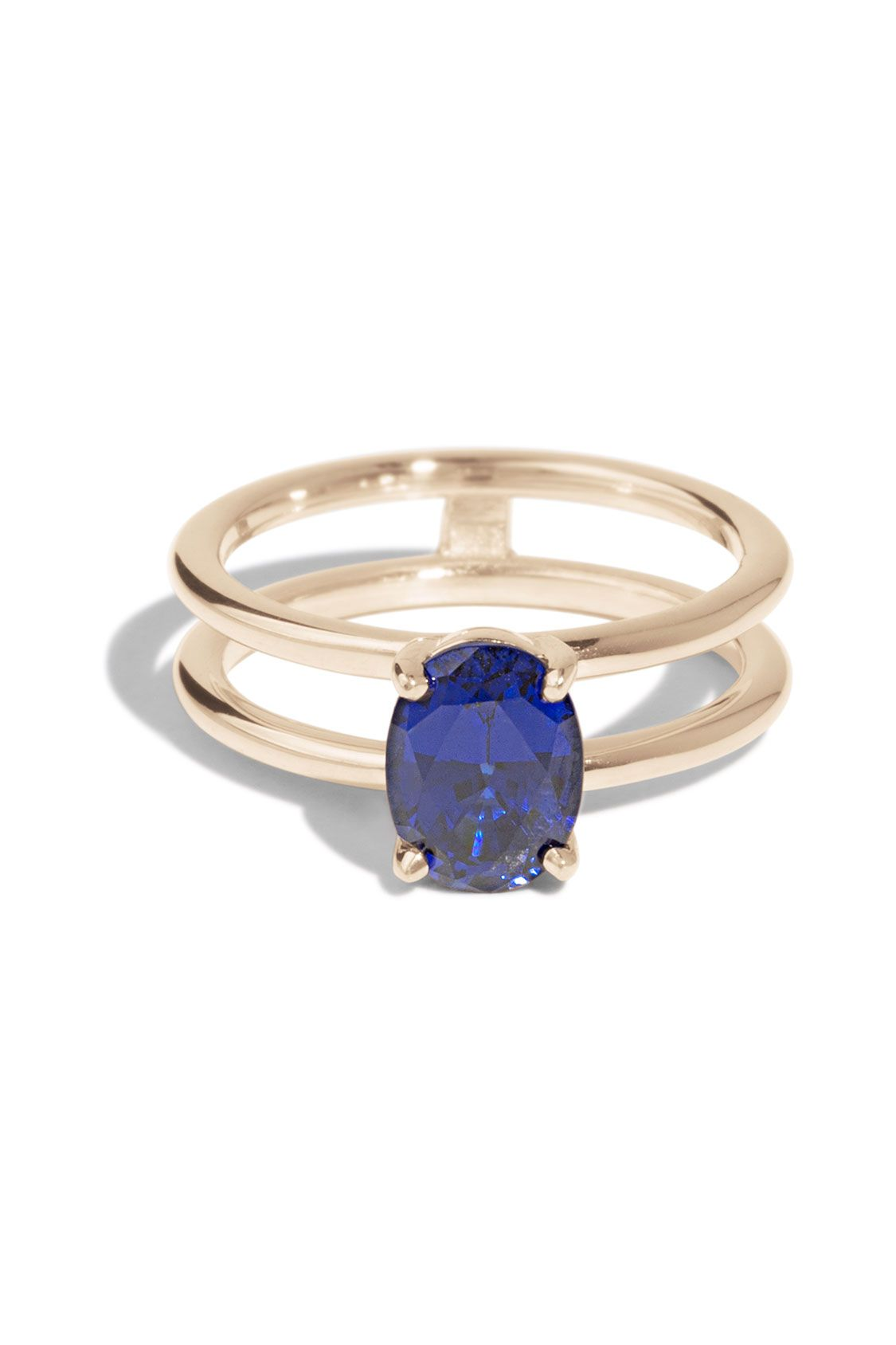 911728fdf This custom Double Band Ring features an 8x6mm oval lab created Blue  Sapphire with a 2mm space between the round bands that was designed to hold  a wedding ...