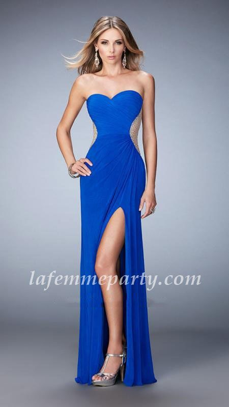 Cheap Sapphire Blue Full Length Prom Dresses by La Femme 22190