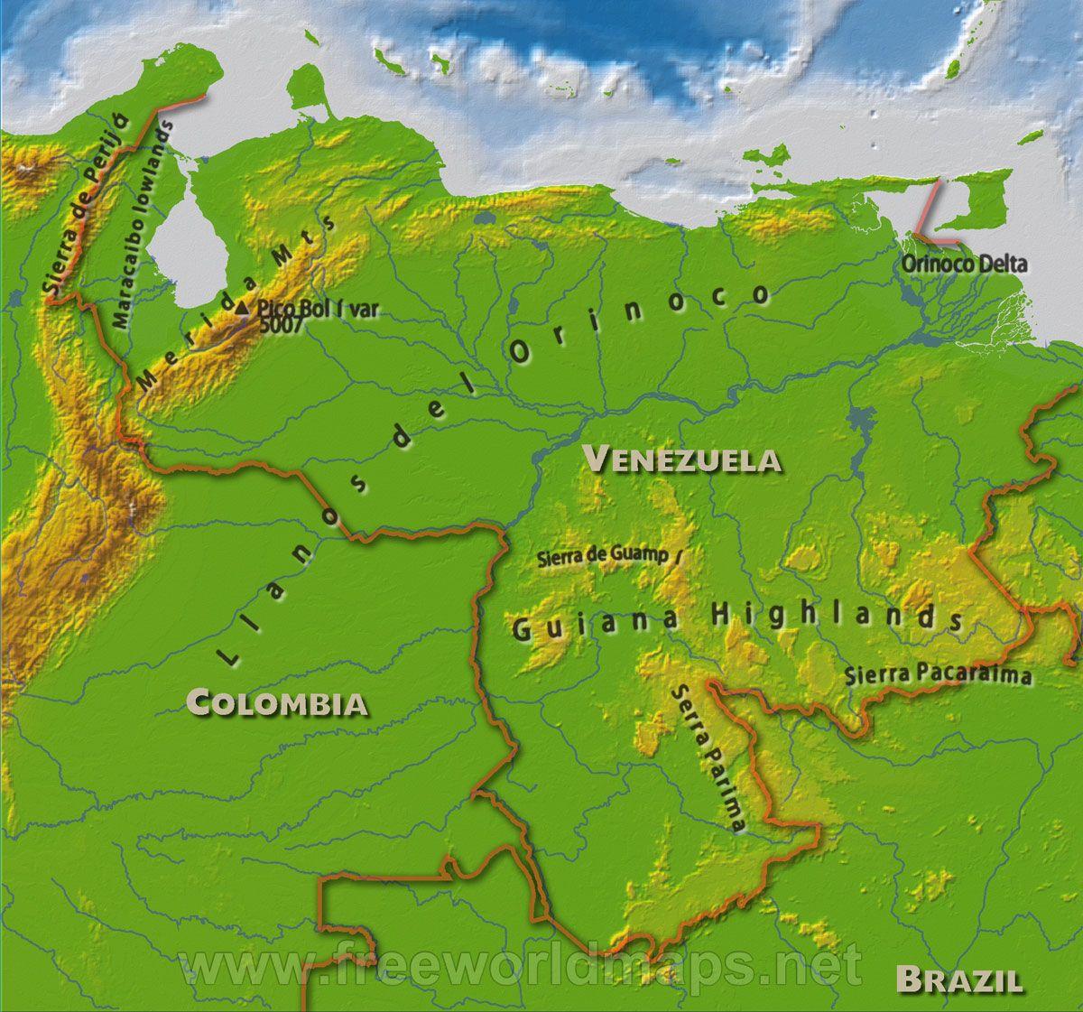 Venezuela Physical Features Geography Venezuela Map Latin America