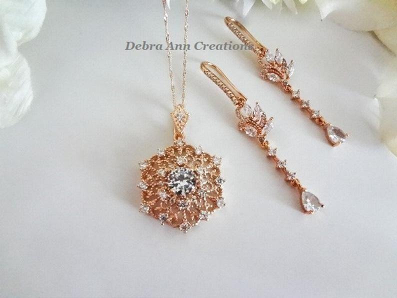 Sweet Heart Flower Topaz Zircon Wedding Women Earrings 18K White Gold Filled