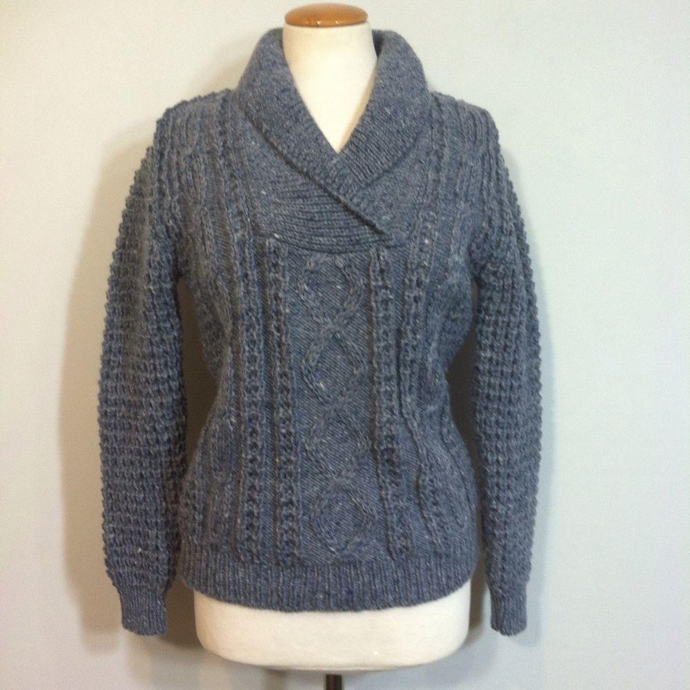 Falcarragh Irish Fisherman Blue sweater Wool Shawl Collar ...