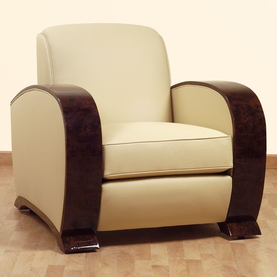 mod le borman 1930 fauteuil art d co loupe d 39 orme fonc e et cuir ivoire furniture