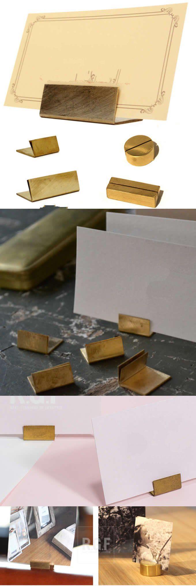modern solid brass desk business name card holder case