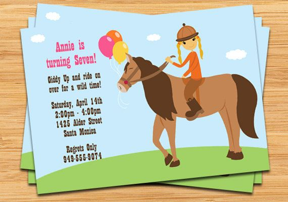 Horseback Riding Birthday Party Invitation – Horse Birthday Invitations