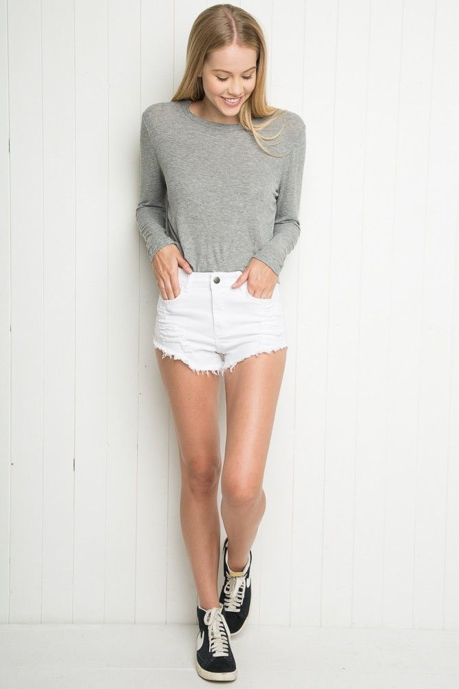 Brandy ♥ Melville | High-Rise Distressed Denim Shorts - Shorts ...