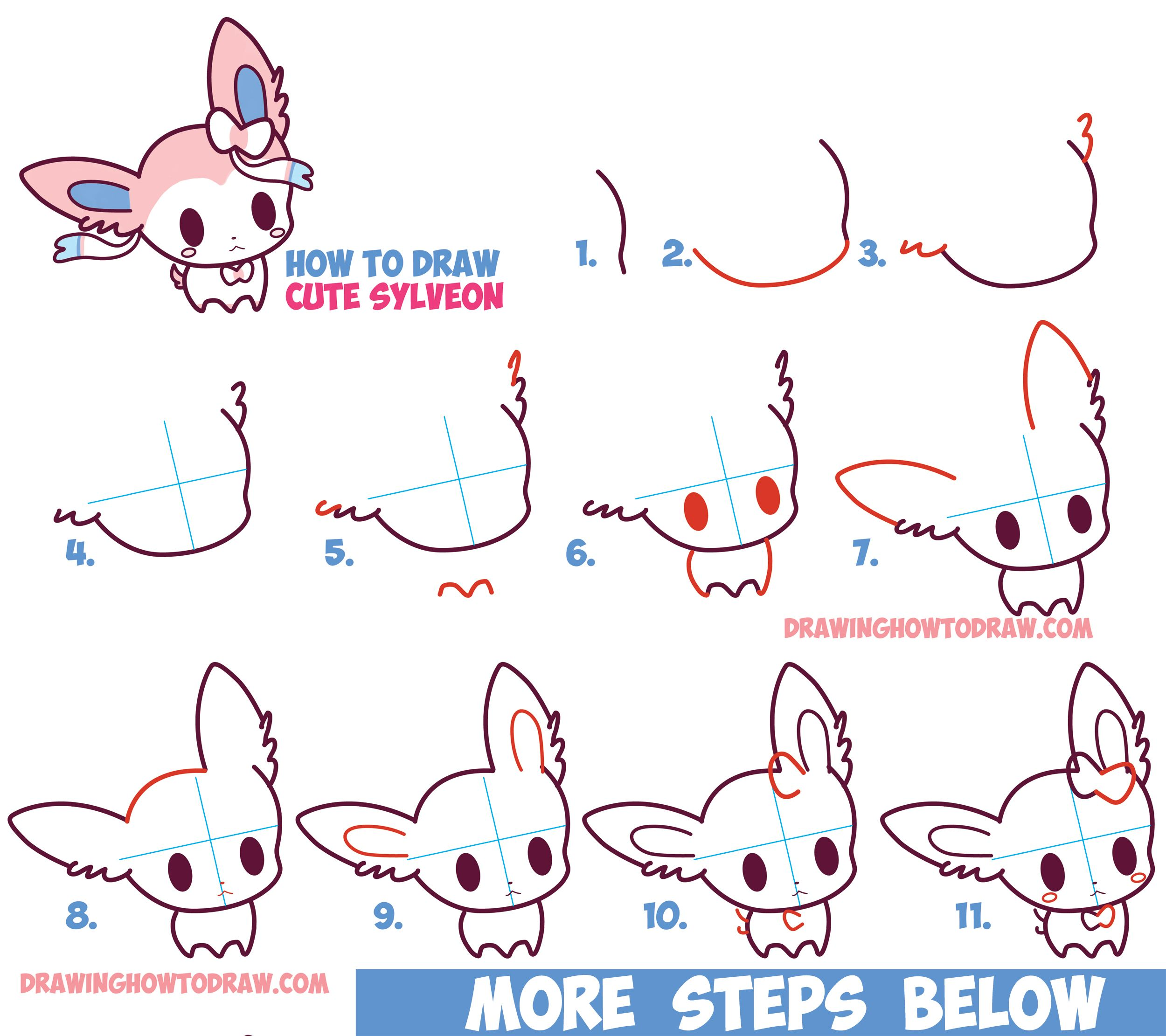 How To Draw Cute Chibi Kawaii Sylveon From Pokemon In Easy Step By Drawing Tutorial For Kids