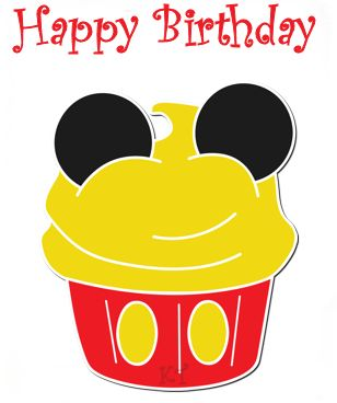 Super Cute Free E Card Mickey Cupcake Birthday Happy Mouse