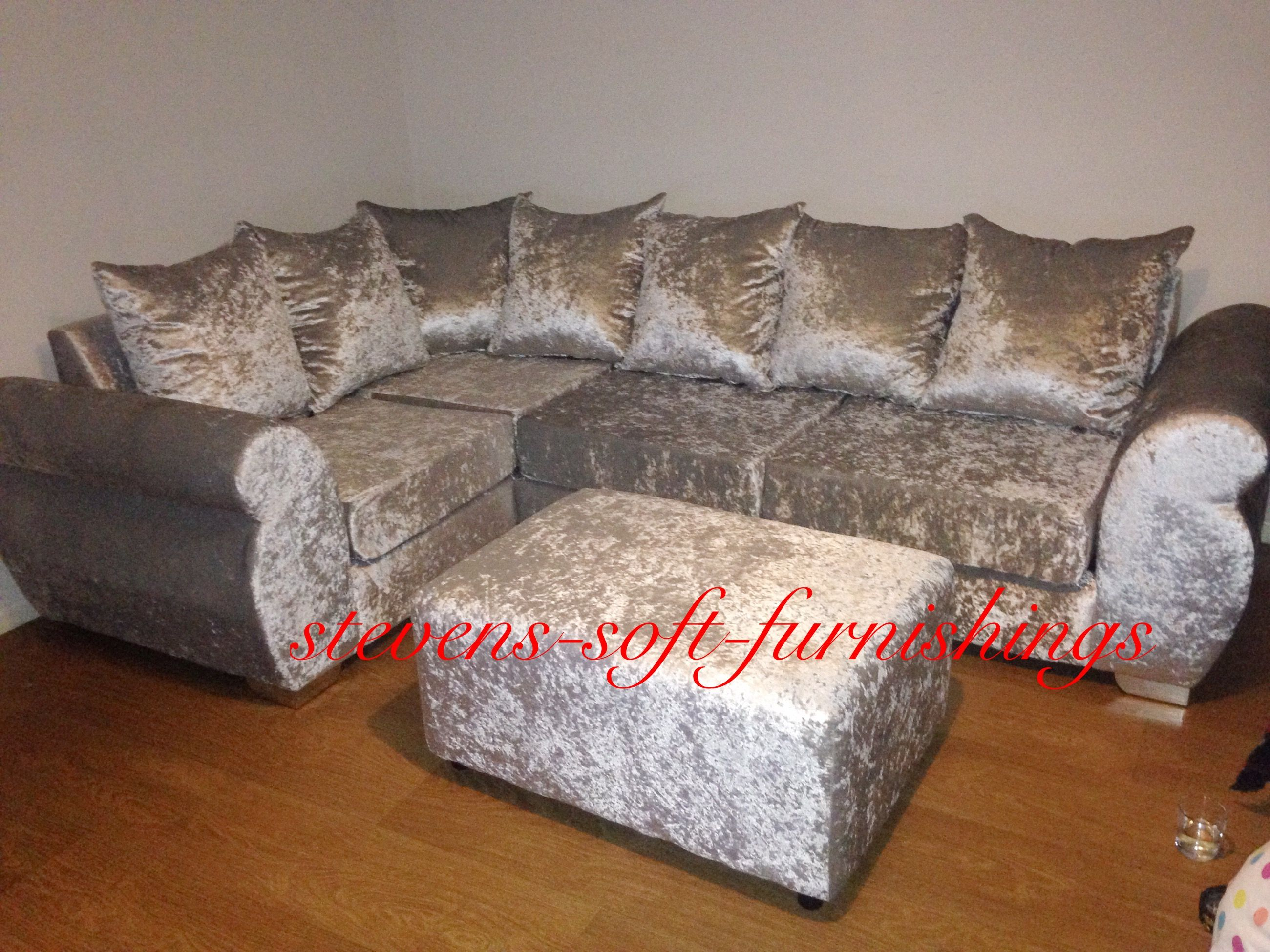 Helix ice silver corner sofa all plain facing velvet with matching