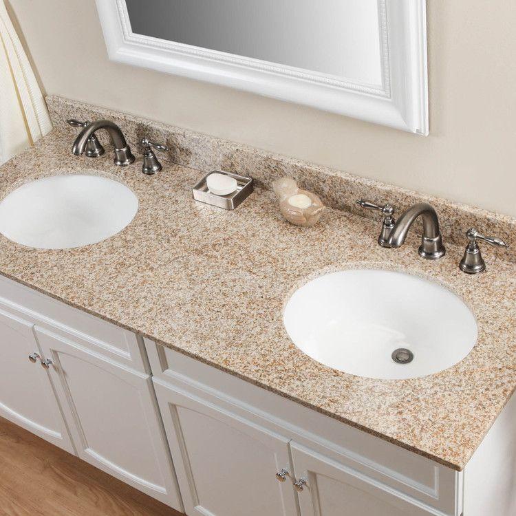 61 Granite Double Vanity Top With Undermount Sinks Granite