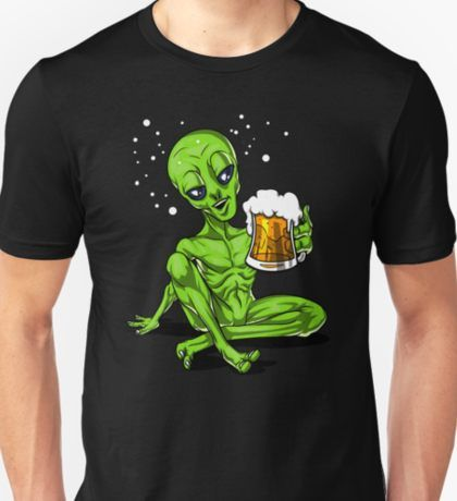 2d03f211 Space Alien Beer Drinking UFO Party | Slim Fit T-Shirt | Space ...