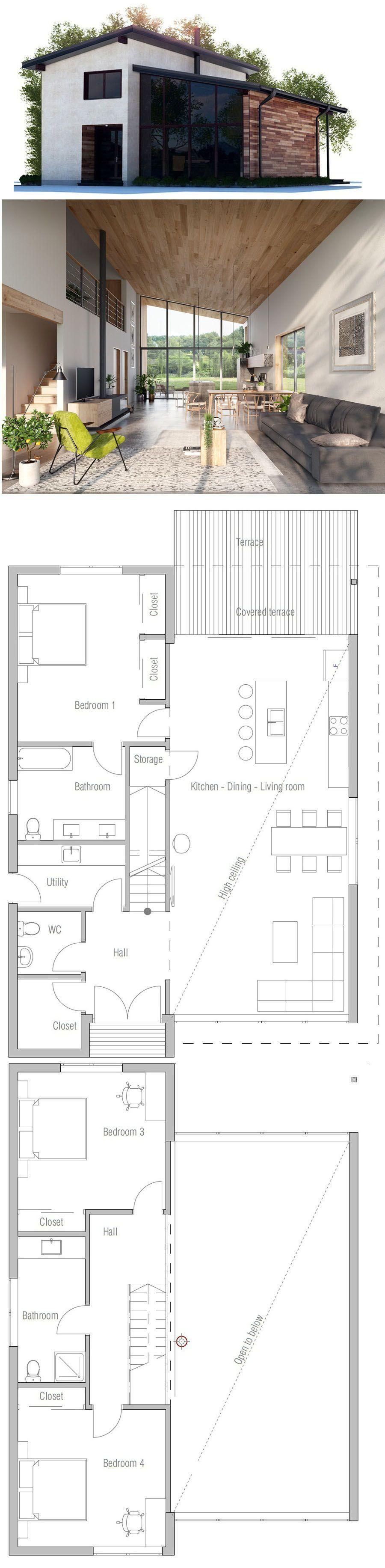 hermosos planos de planta abiertos House Plan Arquitectura En 2018 Casas Casas Modernas Y