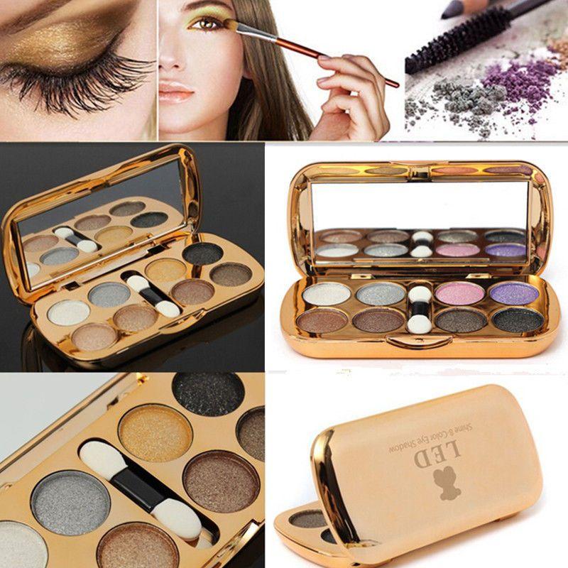 Eyeshadow Brush Mirror Glitter 8 Color Bear Shade Powder