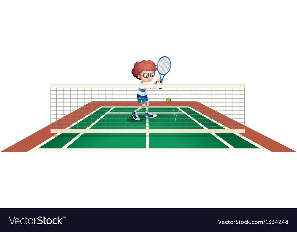 A Boy Playing Tennis At The Tennis Court Vector Image Sponsored Tennis Playing Boy Image Ad Boys Playing Vector Images Image