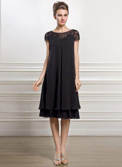 [€ 134.00] Empire-Linie U-Ausschnitt Knielang Chiffon Kleid für die Brautmutter mit Perlstickerei Pailletten - JJ's House