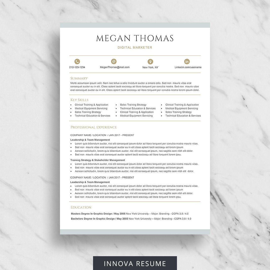 Career Change Resume Template for Word Innova Resume in