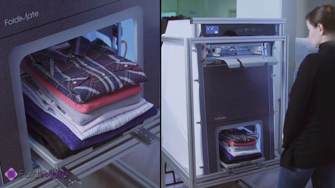 Foldimate Early Prototype In Action Ironing Machine Folding Clothes Inventions