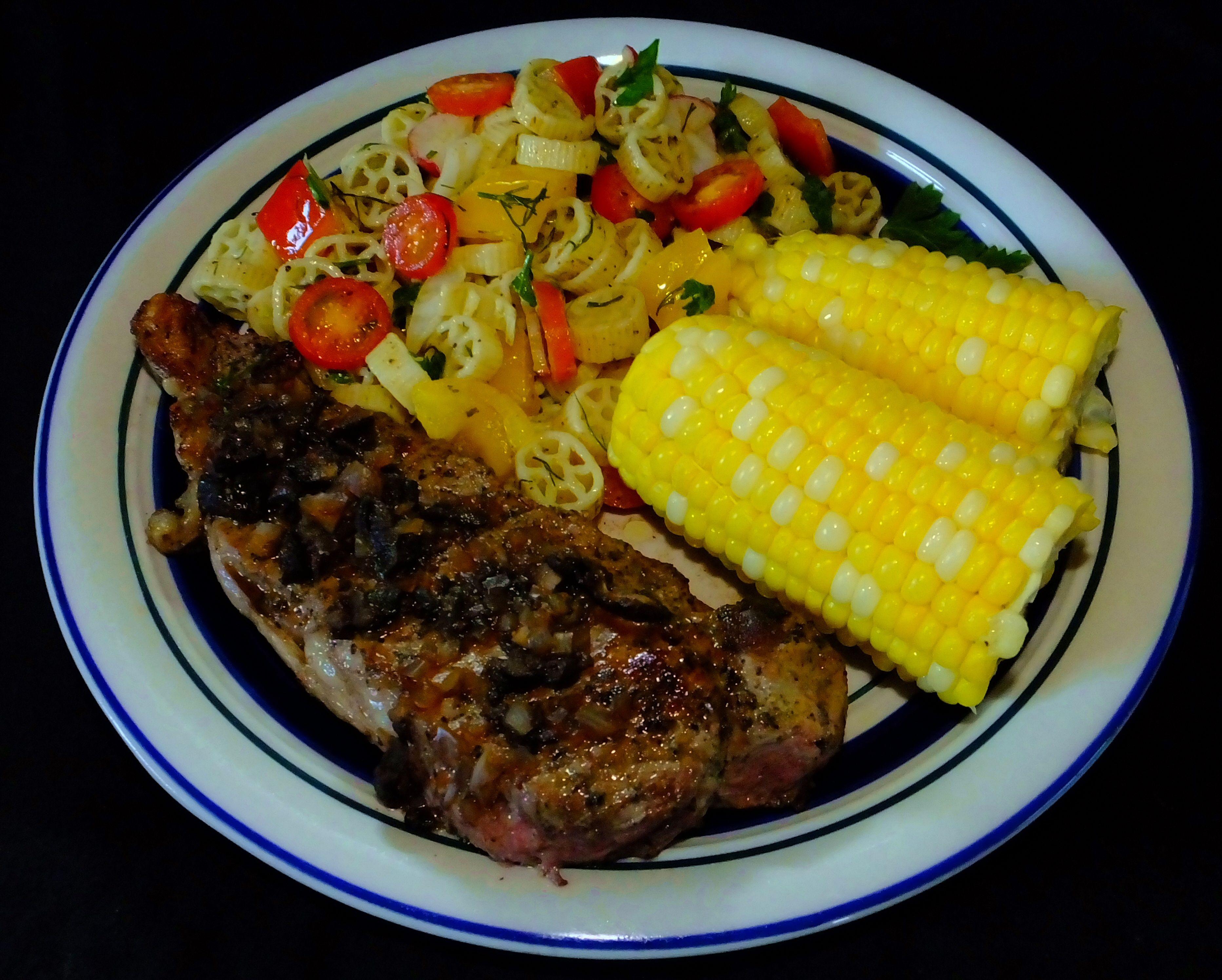 Strip Loin Steak with Shitake Mushroom & Bourbon Anjou #StripLoin #Steak #ShitakeMushrooms #Bourbon #Anjou #Corn #WagonWheel #Pasta #Salad