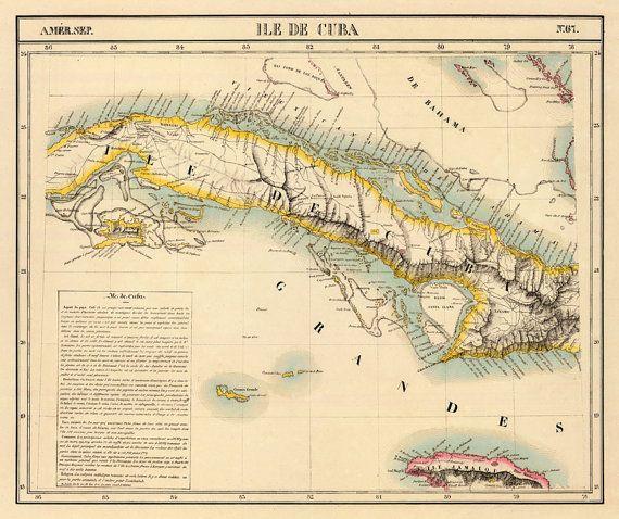 Antiguo Mapa De Cuba Vintage Map Of Cuba Historic Maps - Old map reproductions