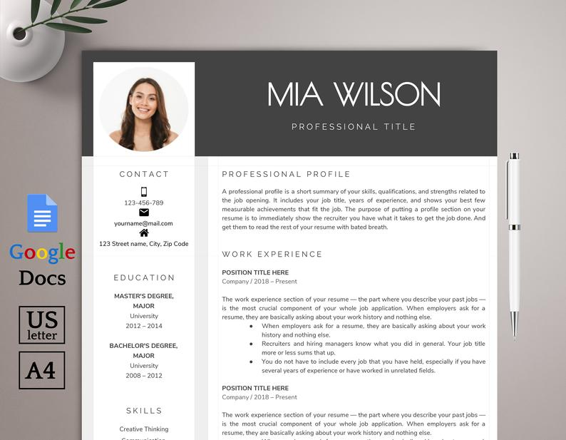 Google Docs Resume Template Cv Template Creative Resume Template Modern Resume Template Professional Resume Template Instant Download Business Plan Presentation Business Powerpoint Presentation Presentation Templates