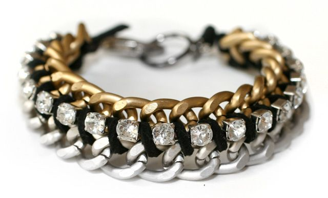 Mixing metal chains and rhinestone chain to create a chunky bracelet.