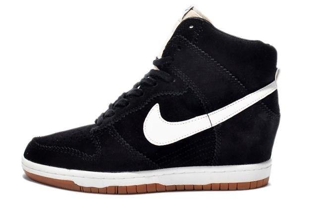 pretty nice c34f9 7a39b Sky Hi Dunk Nike Wedge Women Custom Shoes Black White