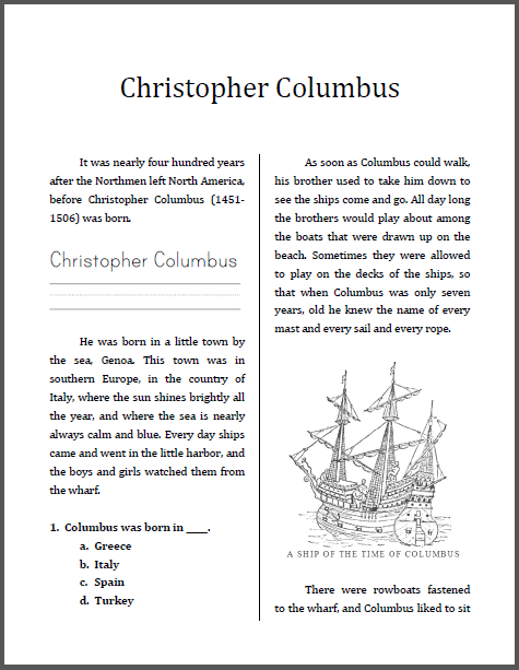 Christopher Columbus Workbook Grades 2 4 Student Handouts Reading Comprehension Christopher Columbus Worksheets Reading Comprehension Worksheets