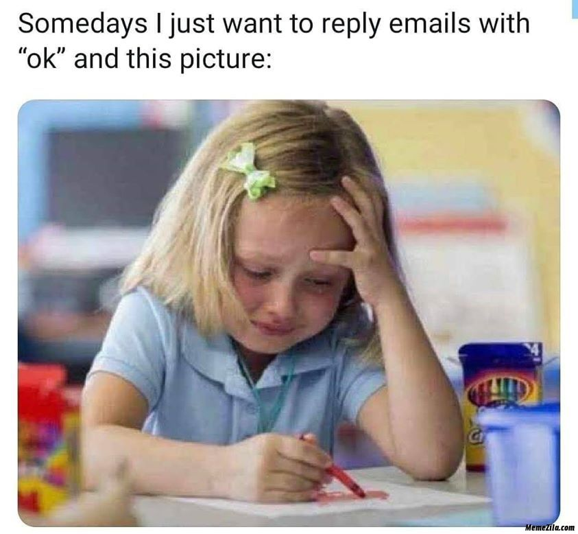 Somedays I Just Want To Reply Emails With Ok And This Picture Meme From Kids Memes Download Memezila Com Crying Kids Weekend Meme Work Memes